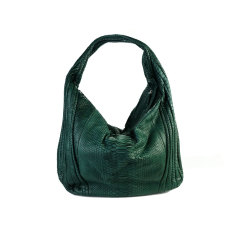 Moss green python leather long hobo bag