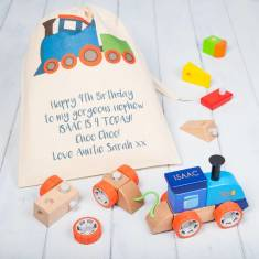 Personalised Construction Wooden Building Blocks Train