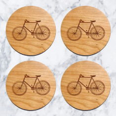 Set Of 4 Wooden Bicycle Coasters