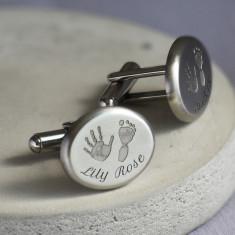 Handprint and Footprint Steel Oval Cufflinks