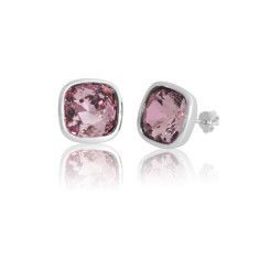 Antique Pink Cushion Stud Earrings