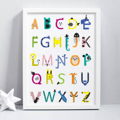 Colourful animal alphabet print