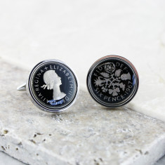 Sixpence 50th Enamel Coin Cufflinks
