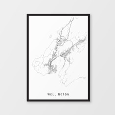 Wellington minimalist map print