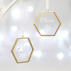 Personalised Glass Hexagon Decorations With Snowflake