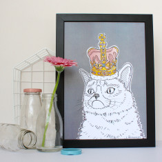 Grumpy Cat In A Crown Print