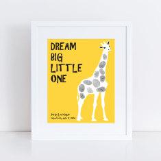 Giraffe fingerprint guest book print