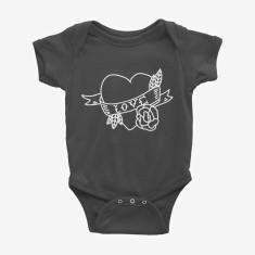 Tattoo Heart Cute Printed Baby Bodysuit