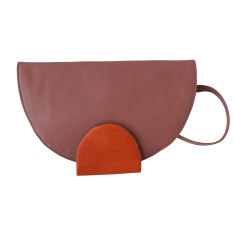 Leather Curtsey Purse, Clutch/Shoulder Bag - Mauve