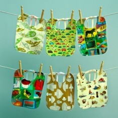 Organic Baby Bib with Wipe Clean Vintage Fabric Print