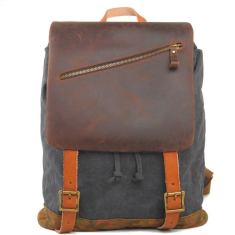 Grey canvas backpack traveling bag