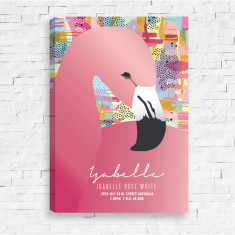 Sweet Dreams Flamingo Personalised Birth Canvas