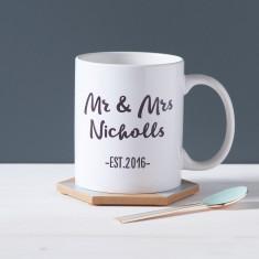 Couple's Personalised Mr And Mrs Mug