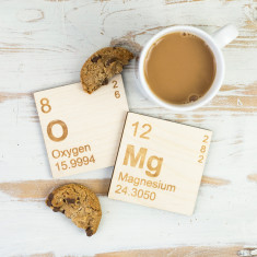 OMg periodic table wooden coasters set