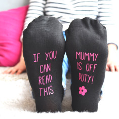 Mum's off duty personalised socks