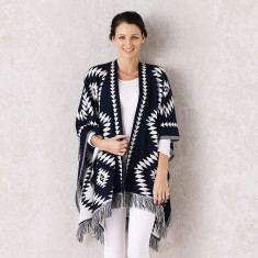 Azteca Poncho in Navy and White