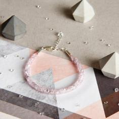 Glitzerland - Skinny Crystal Pink Mesh Bracelet