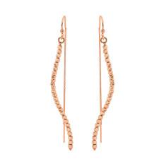 Silver rain diamond cut earrings in rose gold
