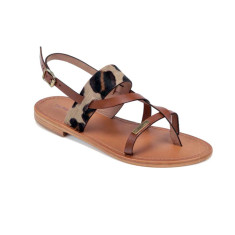 Les Tropeziennes French sandals baule in tan and leopard