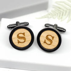 Personalised gun metal letter cufflinks