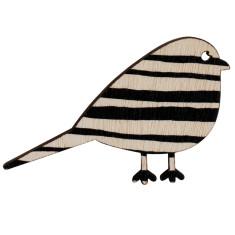 Bird brooch with black stripes
