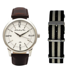 Classic Silver Watch with Brown Leather Strap & Travel Case