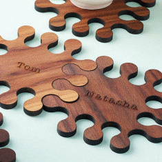 Personalised walnut jigsaw coasters set