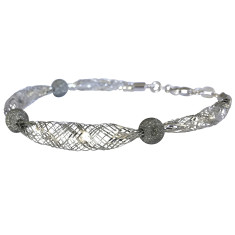 Sterling silver knitted bracelet with black diamond cut balls
