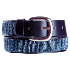 Leather beaded belt in gunmetal