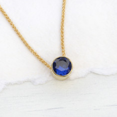 Sapphire Necklace in 18ct Gold, September Birthstone