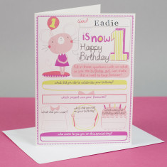 Personalised girl's 1st birthday card