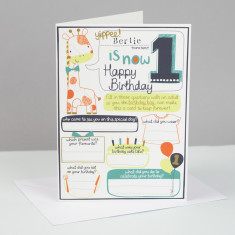 Personalised boy's 1st birthday card