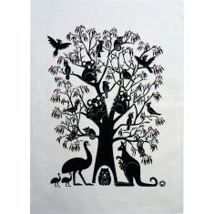 Aussie animal tree tea towel