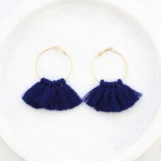 Tassle hoop earrings in navy an gold