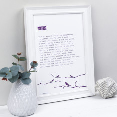 Mum bird personalised poem print