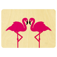 Flamingos in love wooden card