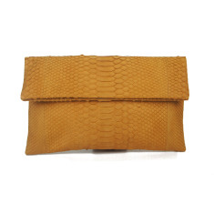 Mustard yellow python leather classic foldover clutch