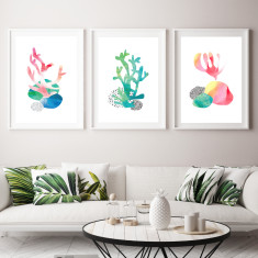 Abstract coral art prints (set of 3)