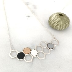 Kim Honeycomb Necklace Silver