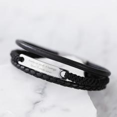 Men's multi-strand personalised leather bracelet