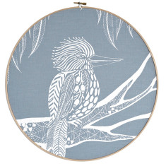 Screen printed Kookaburra framed in embroidery hoop (grey blue)