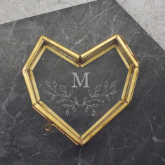Personalised Mini Glass Heart Box With Wreath Initial
