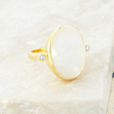 Crystal Accent Ring In Gold Plate