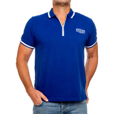 Classic blue men's polo with zipper