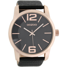 Large face black watch (rose gold or silver)