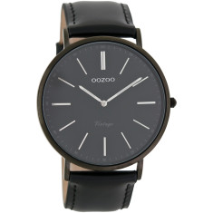 Vintage slimline black watch (in black on black or silver/black)