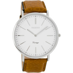 Vintage slimline silver watch (tan or black)