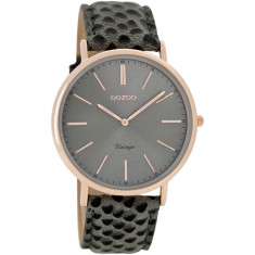 Vintage slimline rose gold & lizard print watch