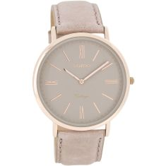 Vintage slimline rose gold & pink-grey watch