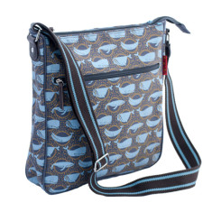 Tamelia cotton canvas Whale messenger bag